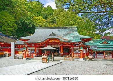 Color Painting Ancient Traditional Japanese Buddhist Shinto Kumano Nachi Taisha Shrine in Kii-Katsuura, Japan on Sandstone Texture
