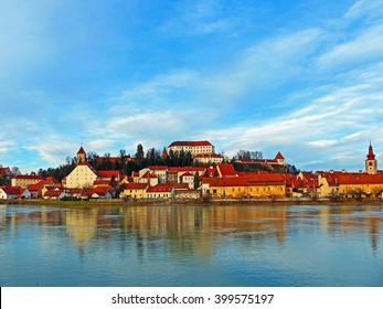 Color Painting Beautiful Scenery Scenic View City of Ptuj, Slovenia in Winter on Sandstone Texture