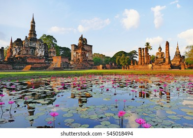 Color Painting Beautiful Scenery Scenic View Ancient Temple Ruins of Wat Mahatat in The Sukhothai Historical Park, Thailand at Dawn on Sandstone Texture
