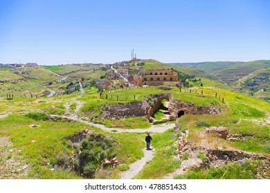 Color Painting Scenic View Green Fields inside Kerak Castle Ruins in Al-Karak, Jordan in Summer on Sandstone Texture