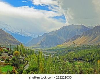 Color Paintings Hunza Valley of Karakoram Highway Mountain Range in Spring on Canvas Texture