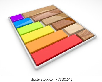 Color palette and decorative material. 3d