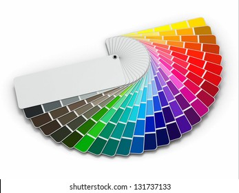 Color palette guide on white background. 3d