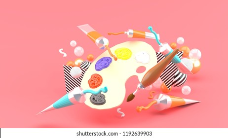 Color palettes and colored tubes among colorful balls on a pink background.-3d rendering.
