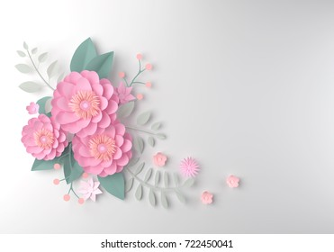 color paper flower wallpaper background, abstract floral background, design for wedding and  greeting card template, 3d illustration.