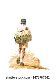 Color pencil drawing Indian school boy with big school backpack walking away, view from back isolated on white background, Digital art