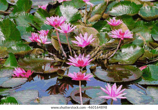 Color Pencil Drawing Lotus Flower Leaf Stock Illustration 460164898