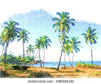 Color pencil drawing of tropical nature - palm trees on sea coast, Goa landscape, India, Digital art