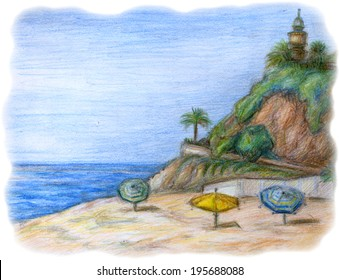 Color pencil illustration of beach with lighthouse on the rock, sunshade, palm trees and green growth