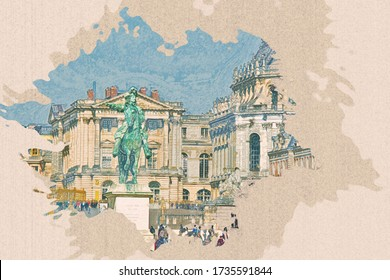 Color pencil painting of Equestrian statue of Louis XIV on Place d'Armes in front of Palace of Versailles