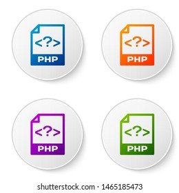 Color PHP file document icon. Download php button icon isolated on white background. PHP file symbol. Set icons in circle buttons