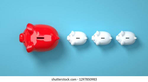 Color piggy bank as row leader for the right direction of wealth, investment and development concept - 3d rendering