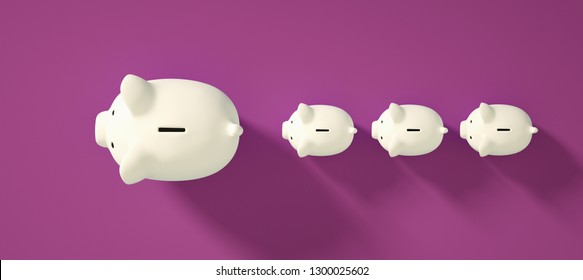 Color piggy bank as row leader for the right direction of wealth, investment and development concept