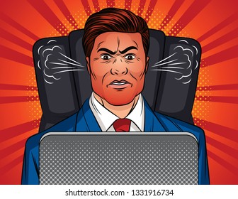 Color pop art style illustration of an angry man sitting in an office chair at a table. Boss is sitting in front of a laptop. A man in a office suit with a red face and a steam from the ears