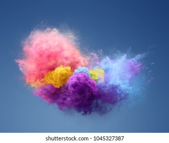 Color powder explosion. Freeze motion of powder exploding. Illustration