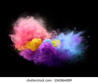 Color powder explosion on black background. Freeze motion of powder exploding. Illustration