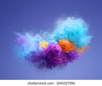 Color powder explosion on blue background. Freeze motion of powder exploding. Illustration