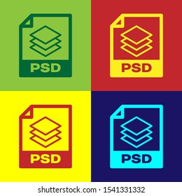 Color PSD file document icon. Download psd button icon isolated on color backgrounds. PSD file symbol