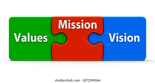 Color puzzle pieces with text values, mission and vision, isolated on a white background, three-dimensional rendering, 3D illustration