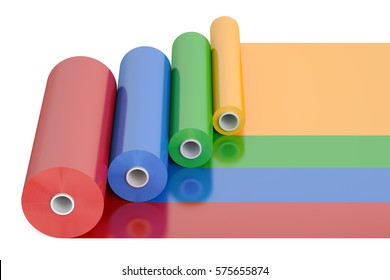 Color PVC Polythene Plastic Tape Rolls, 3D rendering isolated on white background