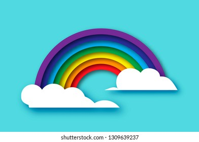 Color rainbow with clouds in paper cut style. Origami Summer symbol on blue sky. Summertime.