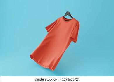 Color Red Blank Tshirt Mockup on hanger on Blue background. 3d rendering