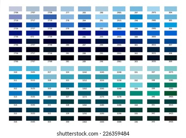Color reference illustration. Blue color shade from 2706 to 3435.