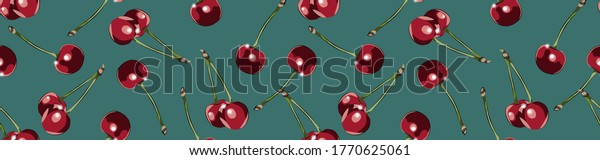 3d cherries on turquoise home dining room wallpaper idea.