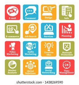 Color Seo And Internet Service Icons Set For Web And Mobile.
