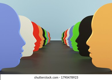 Color shapes of faces, 3d illustration of diversity, racial tension, tolerance and inclusive.