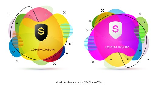 Color Shield and dollar icon isolated on white background. Security shield protection. Money security concept. Abstract banner with liquid shapes.