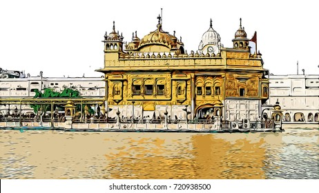 Color sketch of Golden Temple Amritsar Punjab, India in illustration.