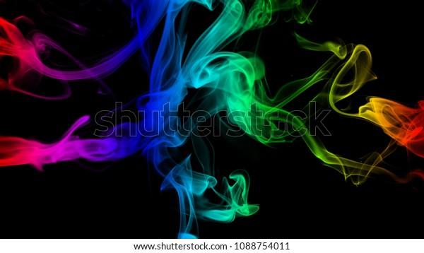 Color Smoke Wallpaper Black Background Stock Illustration