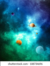 The Color of Space - A detailed space nebula with planets in vibrant colors (Illustration)