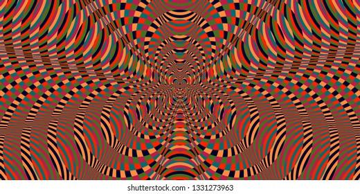 Color spectrum glitch background. Hypnotic trance texture. Op art illustration. Psychedelic illusive kaleidoscope.