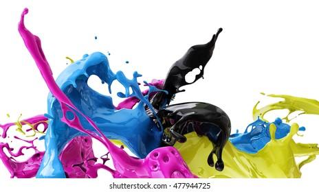 color splash, cmyk, 3d illustration