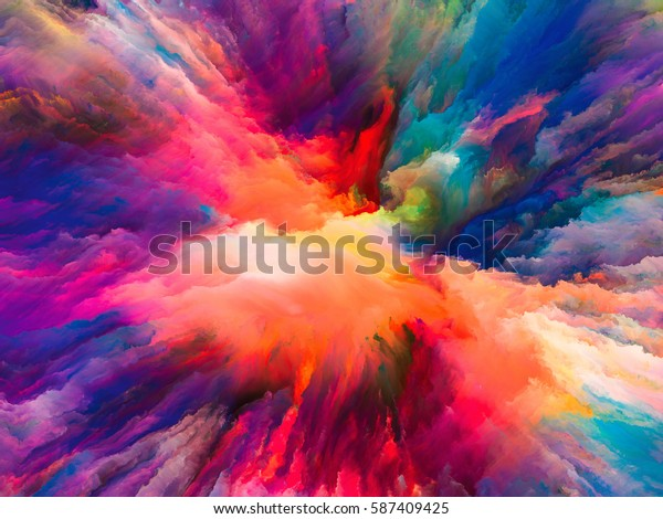 Color Splash series. Background design of fractal paint and rich texture on the subject of imagination, creativity and art
