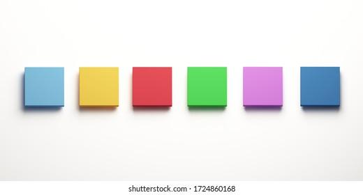 Color square boxes set. 3D Render illustration