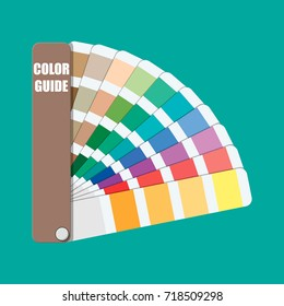 Color swatch. Color palette guide. Colorful scale. Rainbow tool for designer, photographer, artist. Coloured swatches catalogue, book, pantone. illustration in flat style