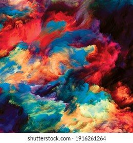 Color Swirl series. Interplay of colorful motion of liquid paint on canvas related to life, creativity and art