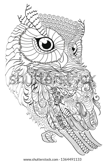 Color Therapy Antistress Coloring Book Owl Stock Illustration 1364491133