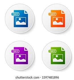 Color TIFF file document. Download tiff button icon isolated on white background. TIFF file symbol. Set icons in circle buttons.