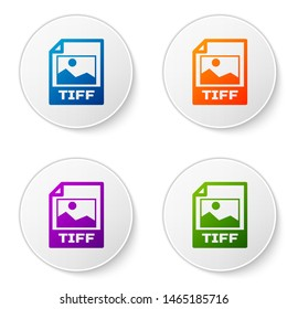 Color TIFF file document icon. Download tiff button icon isolated on white background. TIFF file symbol. Set icons in circle buttons