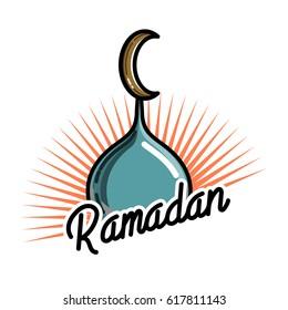Color vintage ramadan emblem. Ramadan Kareem - islamic muslim holiday background or greeting card.