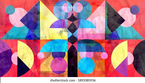 Color watercolor retro background with geometric objects with different shapes