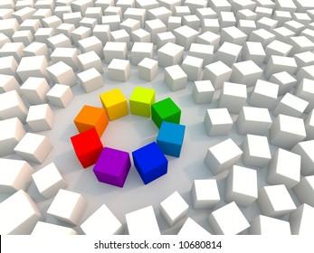 Color wheel in chaos