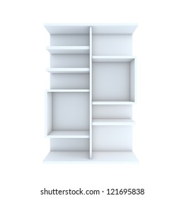 Color white shelf design with white background