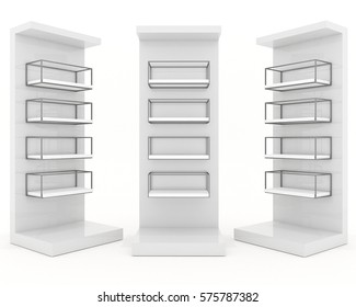 Color white shelves design with metal frame on white background, 3d illustration