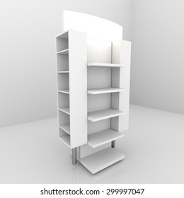 Color white shelves design on white background