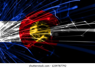 Colorado abstract fireworks sparkling flag. New Year, Christmas and National day concept. United States of America